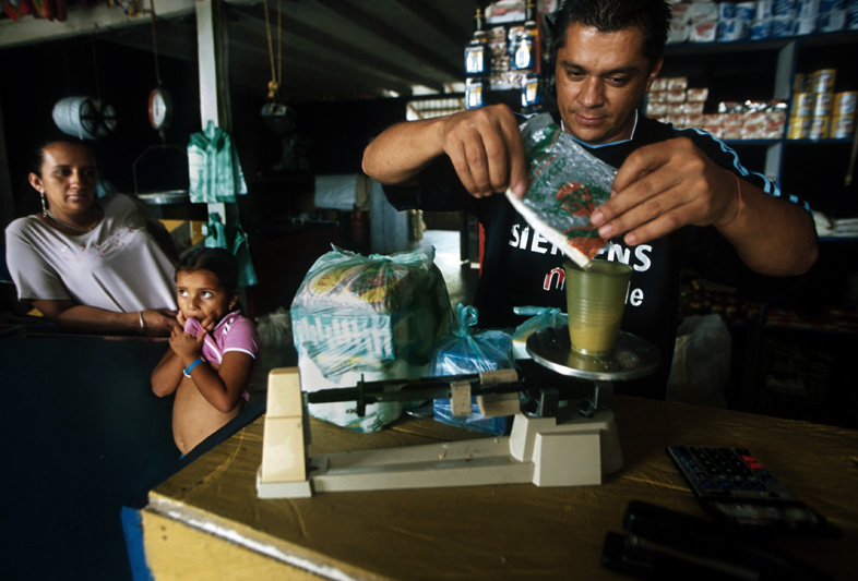 Cocaine base is bartered for supplies during the slow dry season, Santa Fe, Colombia