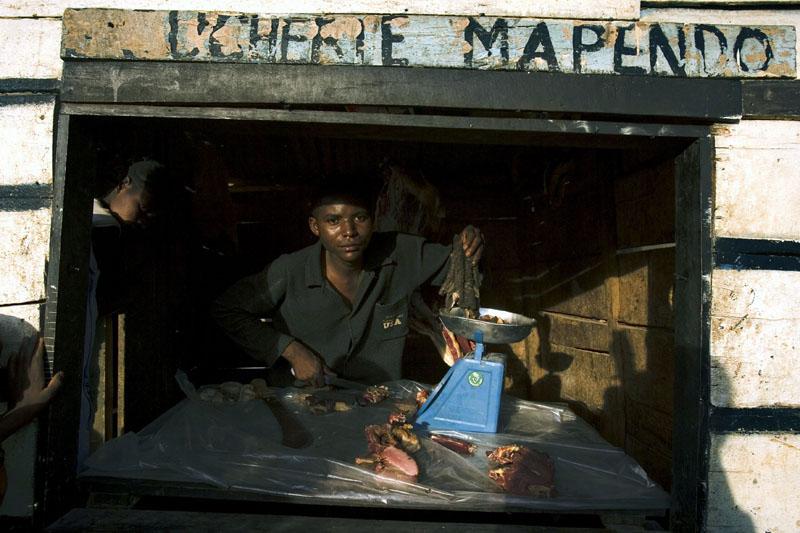 Meat market/ Meat market scene, Beni, DR Congo