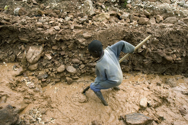 Child miner/ Mugisha, a 12 year old working in a coltan mine, Numbi, DR Congo