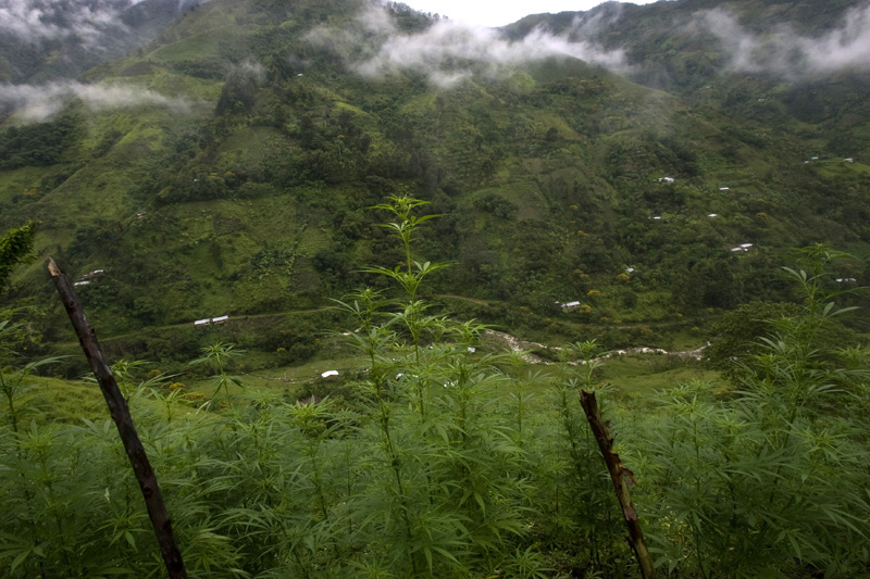 A view of a small hamlet in the mountains of Cauca, Colombia
