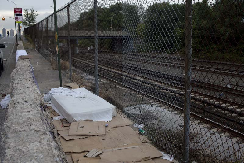 A mattress used by homeless men and drug users in the South Bronx, NY, USA