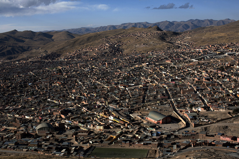 The mining city of Potosi, Bolivia, is at the base of the Rich Mountain.
