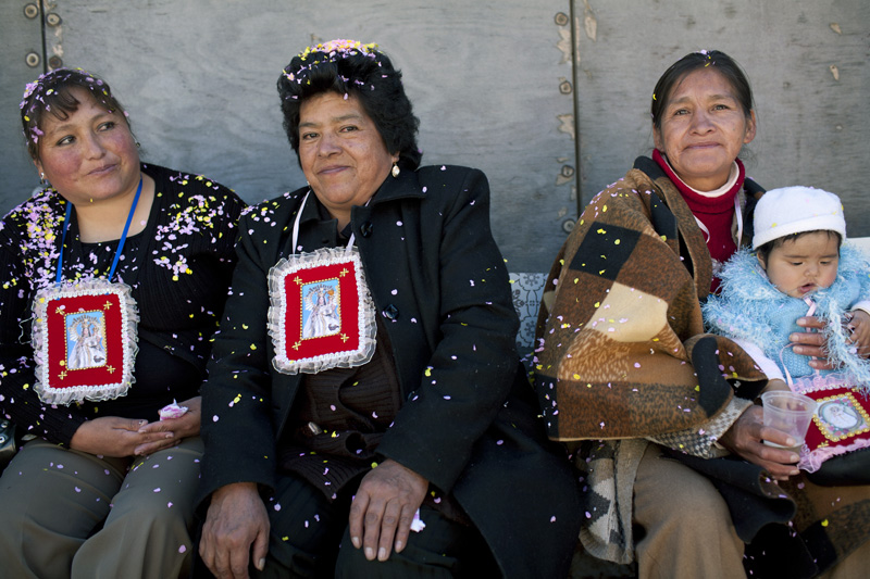 Women attending to a party to pay homage to Urcupiña´s virgin in Potosi, Bolivia.