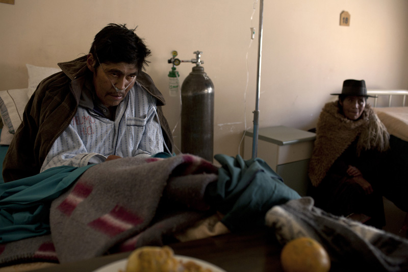 Saturnino Soncko is 58, but the fine deadly dust he inhaled in the mines has left him an invalid in the pulmonary wing of a public hospital in Potosi, Bolivia.