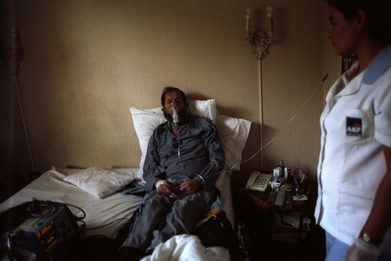 My father after a diabetic coma being treated at home by insurance service, Santiago, Chile