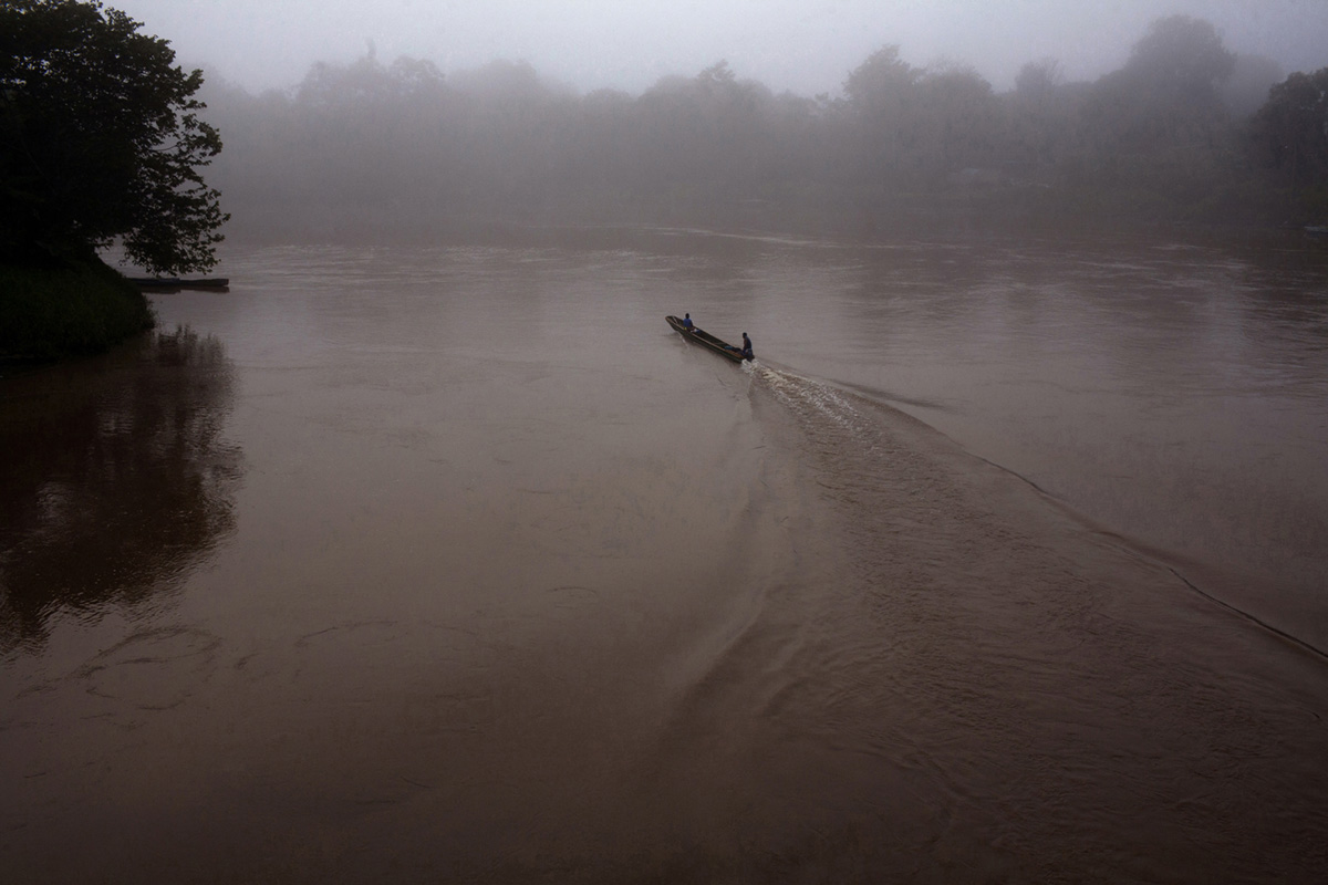 A small boat across the Chucunaque river in the town of Yaviza, Panama, 2013.