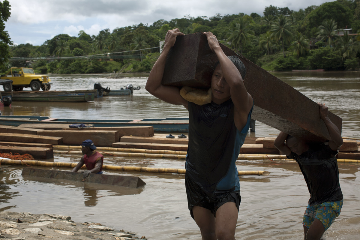 Three men unload wood from a wooden raft in the town of Yaviza, Panama, 2013.